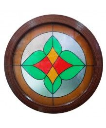 Fenêtre ronde fixe 700 avec vitrage décoratif PVC Acajou