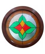 Fenêtre ronde fixe avec vitrage décoratif PVC Acajou