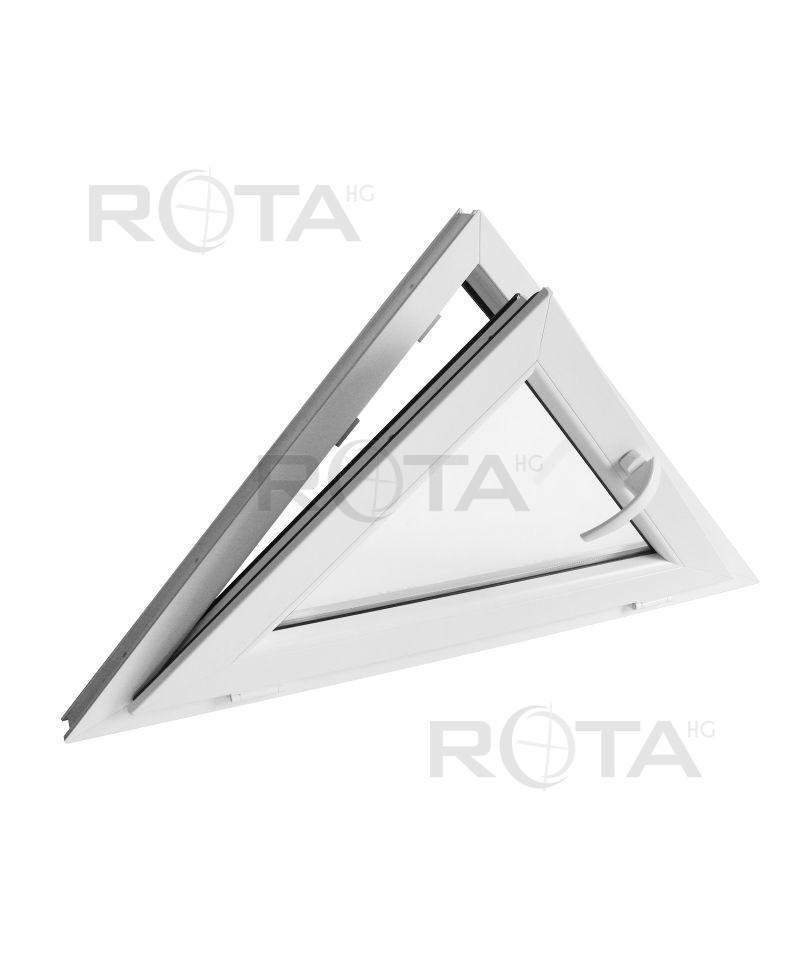 Fen tre triangulaire soufflet 1000x600mm blanc pvc houteau for Fenetre triangulaire