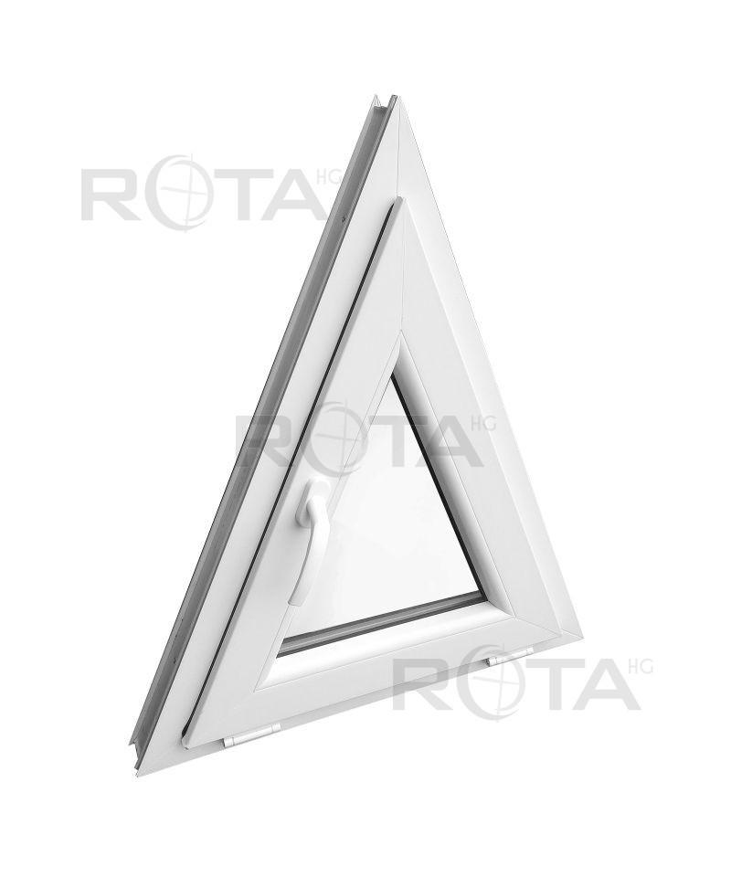 Fen tre triangulaire soufflet 700x850mm blanc pvc houteau for Fenetre triangulaire