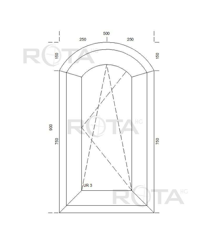 fen tre cintr e 500x900mm arc surbaiss pvc oscillo battante. Black Bedroom Furniture Sets. Home Design Ideas