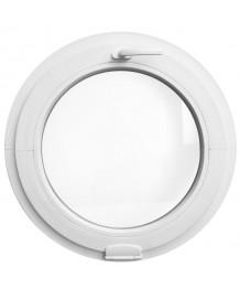 Fenêtre ronde à soufflet PVC Blanc avec charnières Estetic3D