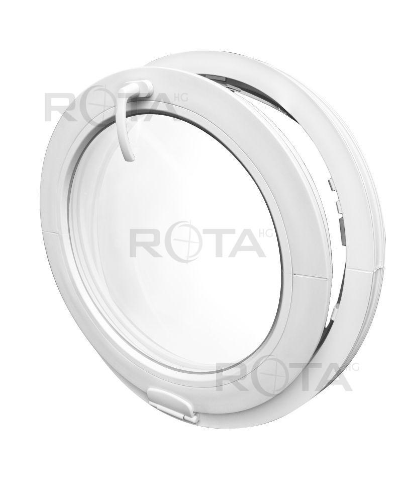 Fenêtre Ronde à Soufflet Pvc Blanc Avec Charnière Estetic 3d