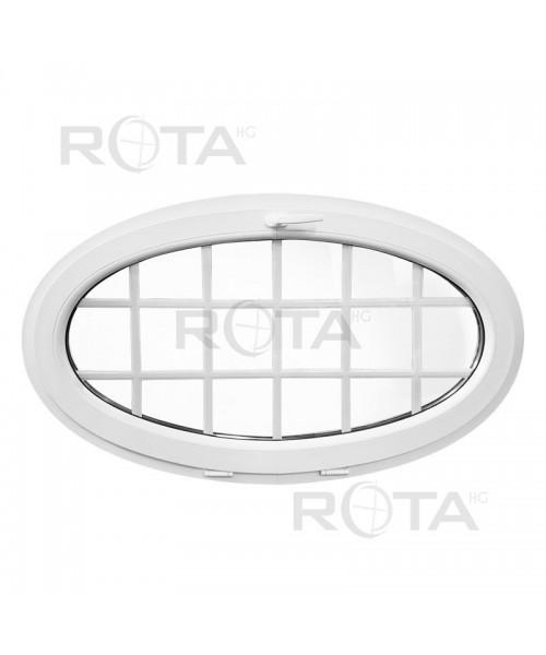 Fenêtre ovale à soufflet 1350x800 à petits carreaux PVC Blanc