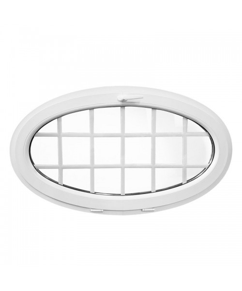 Fenêtre ovale à soufflet 1350x800 à petits carreaux PVC Blanche