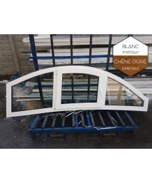 Fenêtre cintrée 2360x750mm à la française et fixe PVC Chêne doré ext. - Blanc int.