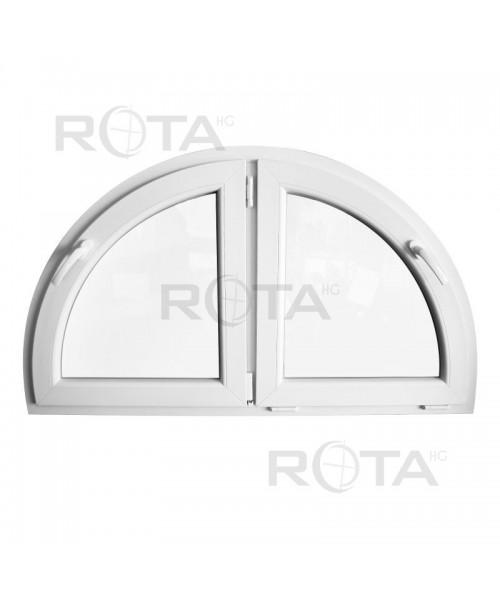 Fenêtre demi-cercle à deux vantaux 1200x700mm Blanc