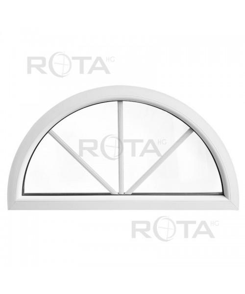 Fenêtre demi lune fixe PVC blanc avec croisillons incorporés