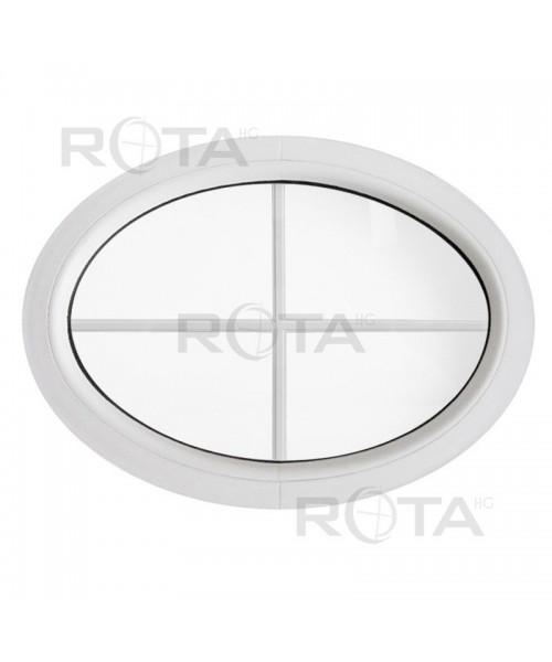 Fenêtre ovale fixe PVC blanc horizontale croisillons incorporés