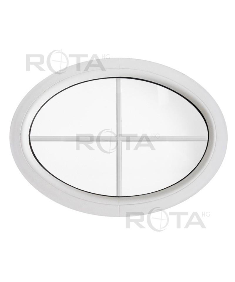 Fenetre Ovale Fixe Pvc Blanc Horizontale Croisillons Incorpores