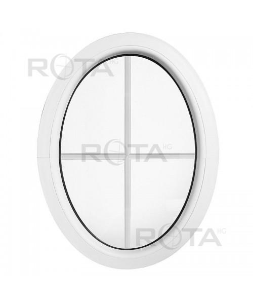 Fenêtre ovale fixe PVC blanc verticale avec croisillons incorporés