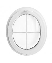 Fenêtre ovale à soufflet PVC blanc verticale croisillons incorporés
