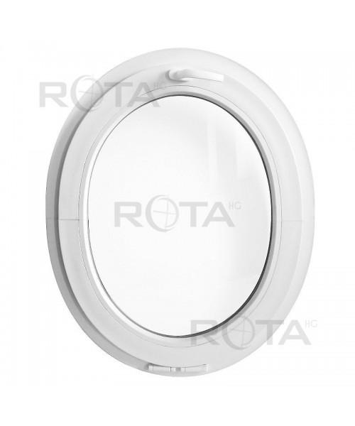Fenêtre ovale à soufflet PVC blanc verticale