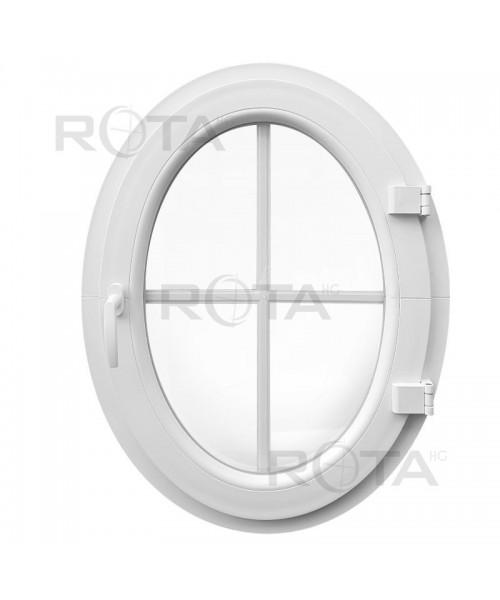 Fenêtre ovale à la française à petits carreaux PVC Blanc (vertical)