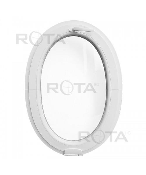 Fenêtre ovale à soufflet avec Estetic3D charnière PVC Blanc (vertical)