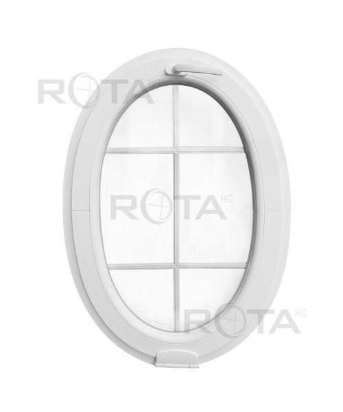 Fenêtre ovale à soufflet à petits carreaux avec Estetic3D PVC Blanc (vertical)