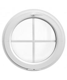 Fenêtre ronde à soufflet PVC blanc avec croisillons incorporés