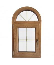 Fenêtre plein cintré 700x1000 à la française PVC avec croisillons