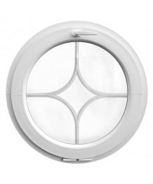 Fenêtre ronde à soufflet PVC blanc, croisillons incorporés motif losange