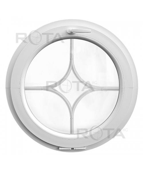 Fenêtre ronde à soufflet blanche croisillons incorporés motif losange