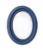 Fenêtre ovale à soufflet PVC couleur bois (vertical)