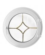 Fenêtre ronde à la française PVC blanc avec les croisillons motif losange