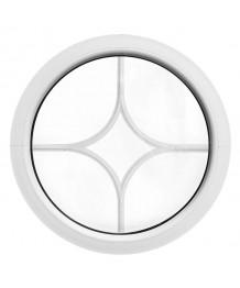 Fenêtre ronde fixe blanc avec les croisillons motif losange