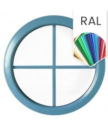 Fenêtre ronde fixe à petits carreaux PVC en couleur RAL au choix