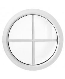 Fenêtre ronde fixe PVC blanc à petits carreaux incorporés