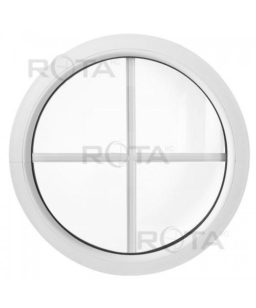 Fenêtre ronde fixe PVC blanc oeil de boeuf à petits carreaux incorporés