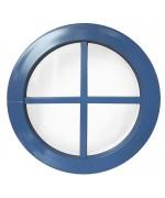 Fenêtre ronde fixe avec croisillons rapportés PVC en couleur RAL