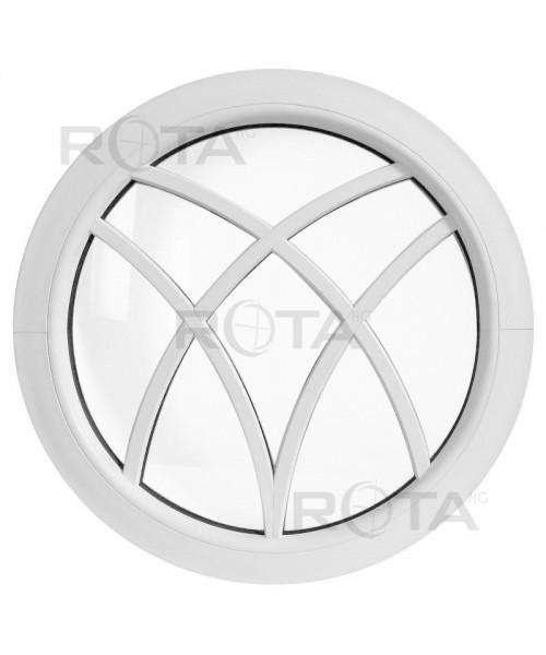 Fenêtre ronde fixe PVC avec croisillons rapportés décoratifs