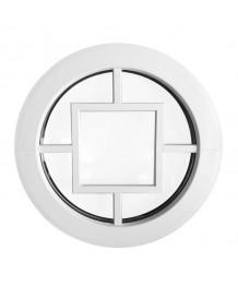 Fenêtre ronde fixe PVC blanc avec croisillons rapportés motif carré