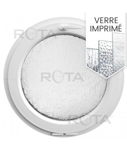 Fenêtre ronde à soufflet PVC blanc avec verre structuré
