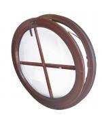 Fenêtre ronde à soufflet PVC en couleur avec croisillons incorporés