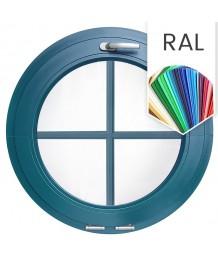 Fenêtre ronde à soufflet à petits carreaux PVC couleur RAL au choix