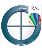 Fenêtre ronde à soufflet à petits carreaux PVC en couleur RAL
