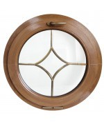 Fenêtre ronde à soufflet PVC en couleur avec croisillons motif losange