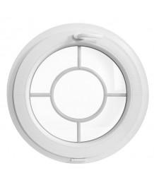 Fenêtre ronde à soufflet PVC blanc croisillons incorporés motif cible
