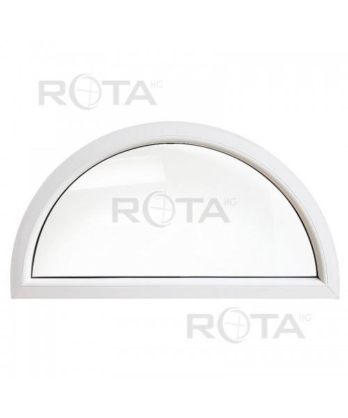 Fenêtre demi lune fixe PVC blanc cintrée demi cercle
