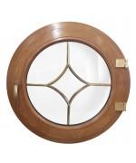Fenêtre ronde à la française PVC en couleur croisillons motif losange