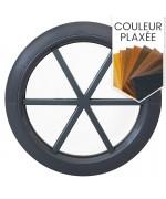 Fenêtre ronde fixe avec croisillons motif étoile PVC en couleur bois