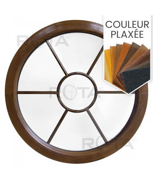Fenêtre ronde fixe PVC en couleur bois croisillons motif soleil