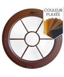 Fenêtre ronde à soufflet PVC en couleur, croisillons incorporés motif soleil