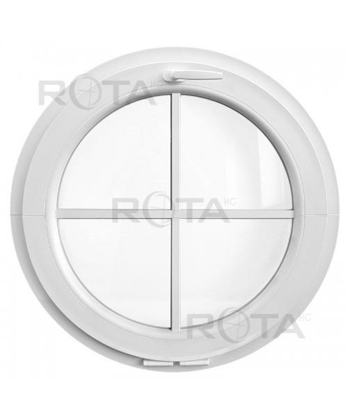 Fenêtre ronde à soufflet PVC blanc avec croisillons rapportés
