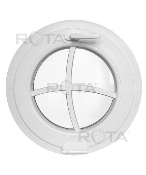 Fenêtre ronde à soufflet PVC blanc avec décoratif croisillons rapportés