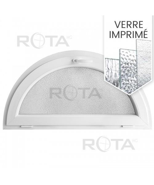 Fenêtre demi lune à soufflet PVC blanc avec verre structuré