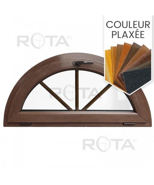 Fenêtre demi lune à soufflet PVC en couleur, croisillons incorporés