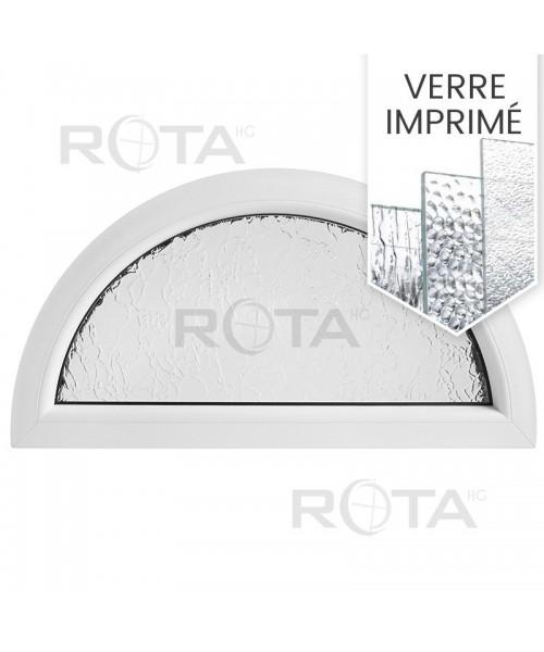 Fenêtre demi lune fixe PVC blanc avec verre structuré