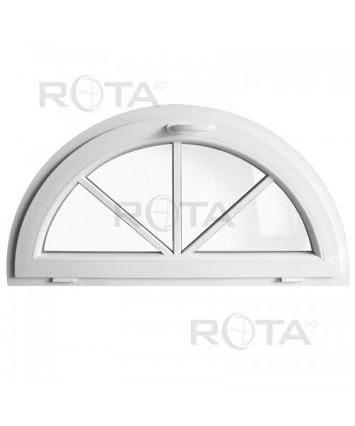 Fenêtre demi-lune à soufflet PVC blanc avec croisillons rapportés